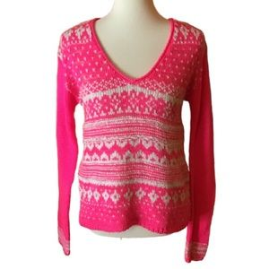 Bright neon pink trendy v neck Aeropostale sweater